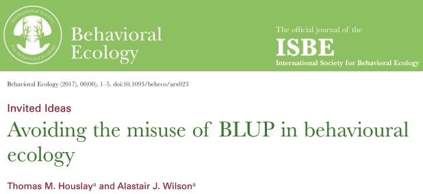 New paper: 'Avoiding the misuse of BLUP in behavioural ecology'
